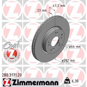 Brake Disc Brake Disc Thickness: 23mm, Rim: 5-Hole, Ø: 282mm with OEM Number 45251SMGG11