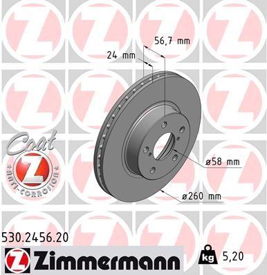 ZIMMERMANN COAT Z 530.2456.20 Bremsscheibe Ø: 260mm