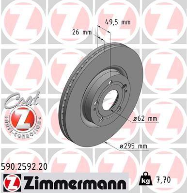 ZIMMERMANN COAT Z 590.2592.20 Bremsscheibe Ø: 295mm