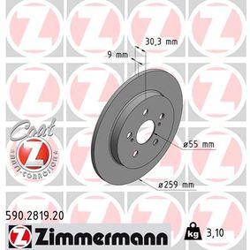 Bremsscheibe Bremsscheibendicke: 9mm, Felge: 5-loch, Ø: 259mm mit OEM-Nummer 42431-12310