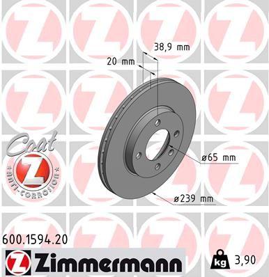 ZIMMERMANN COAT Z 600.1594.20 Bremsscheibe Bremsscheibendicke: 20mm, Lochanzahl: 4, Ø: 239mm