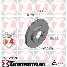 Bremsscheibe Bremsscheibendicke: 20mm, Felge: 4-loch, Ø: 239mm mit OEM-Nummer 321.615.301 C