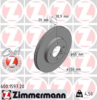 ZIMMERMANN COAT Z 600.1597.20 Bremsscheibe Bremsscheibendicke: 20mm, Lochanzahl: 4, Ø: 256mm
