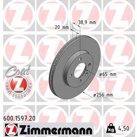 Bremsscheibe Bremsscheibendicke: 20mm, Lochanzahl: 4, Ø: 256mm mit OEM-Nummer 1HM615301E