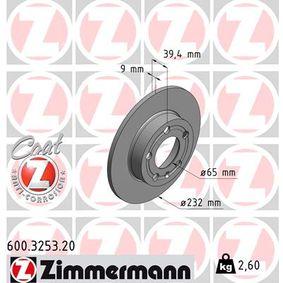 Bremsscheibe Bremsscheibendicke: 9mm, Felge: 5-loch, Ø: 232mm mit OEM-Nummer 1JE615601