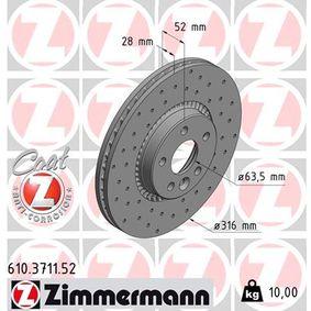 Bremsscheibe Bremsscheibendicke: 28mm, Felge: 5-loch, Ø: 316mm mit OEM-Nummer 1 380 046