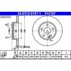 Bremsscheibe Bremsscheibendicke: 12,0mm, Lochanzahl: 5, Ø: 276,0mm mit OEM-Nummer A169 421 0012
