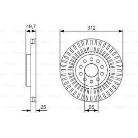 Bremsscheibe Bremsscheibendicke: 25,1mm, Lochanzahl: 9, Ø: 312mm mit OEM-Nummer 1K0 615 301AA