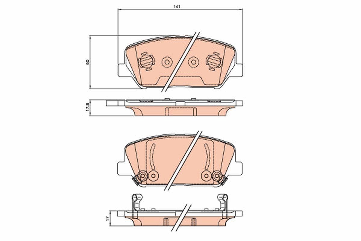 Bremsbeläge GDB3621 TRW 24915 in Original Qualität