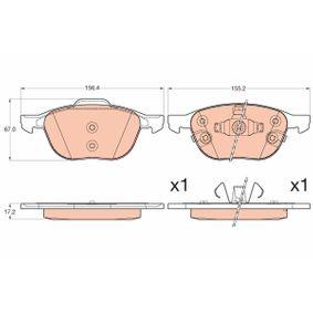 Bremsbelagsatz, Scheibenbremse Höhe: 67,0mm, Dicke/Stärke: 17,2mm mit OEM-Nummer 1816524
