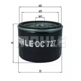 Ölfilter Ø: 76,0mm, Innendurchmesser 2: 62,0mm, Höhe: 63,5mm mit OEM-Nummer 8200 867 980