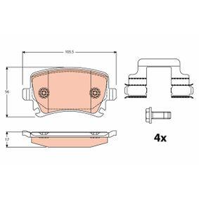 Bremsbelagsatz, Scheibenbremse Höhe: 56,0mm, Dicke/Stärke: 17,0mm mit OEM-Nummer JZW698451M