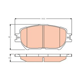 Bremsbelagsatz, Scheibenbremse Höhe: 58,5mm, Dicke/Stärke: 17,5mm mit OEM-Nummer 04465-YZZDZ