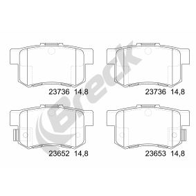 Brake Pad Set, disc brake Height: 47,40mm, Thickness: 15,40mm with OEM Number 43022- S9A-E52