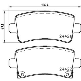 Brake Pad Set, disc brake Width: 106,4mm, Height: 47,1mm, Thickness: 16,7mm with OEM Number 22846359