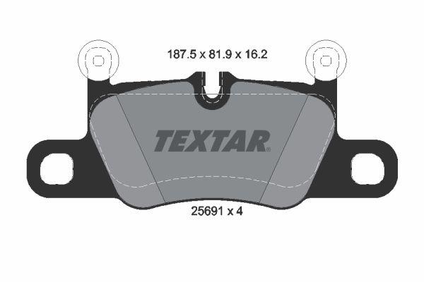TEXTAR  2569101 Bremsbelagsatz, Scheibenbremse Breite: 187,5mm, Höhe: 81,9mm, Dicke/Stärke: 16,2mm