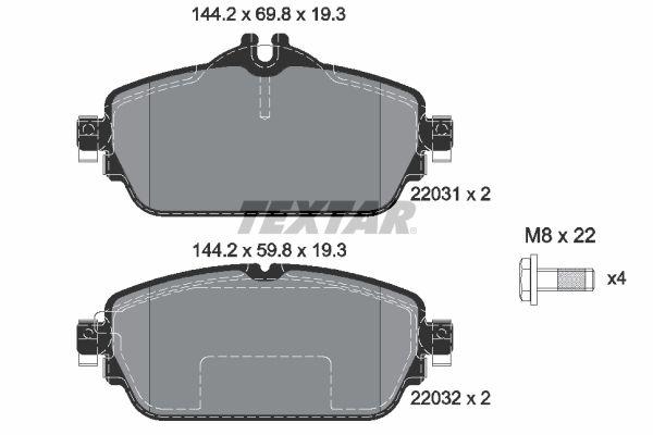TEXTAR  2203102 Bremsbelagsatz, Scheibenbremse Breite: 144,2mm, Höhe 1: 69,8mm, Höhe 2: 59,9mm, Dicke/Stärke: 19,3mm