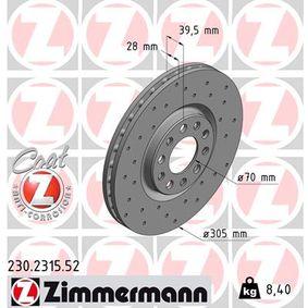 Bremsscheibe Bremsscheibendicke: 28mm, Lochanzahl: 5, Ø: 305mm mit OEM-Nummer 519 37 304