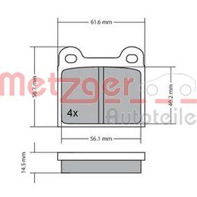 METZGER Bremsbelagsatz, Scheibenbremse 1170003 für MERCEDES-BENZ S-CLASS (W116) 280 SE,SEL (116.024) ab Baujahr 08.1972, 185 PS