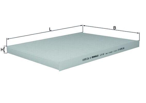MAHLE ORIGINAL  LA 64 Filter, Innenraumluft Breite: 225,0mm, Höhe: 20,0mm