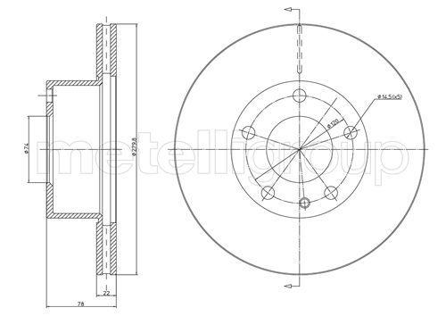 METELLI  23-0061 Bremsscheibe Bremsscheibendicke: 21,6mm, Lochanzahl: 4, Ø: 257,0mm