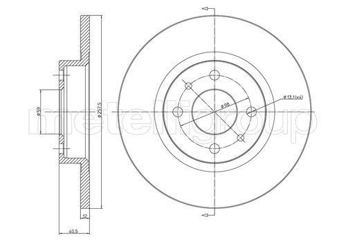 METELLI спирачен диск предна ос, Ø: 257,5мм, плътен 23-0179