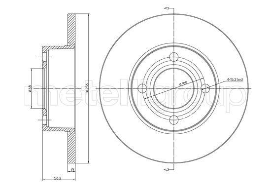 METELLI  23-0233 Bremsscheibe Bremsscheibendicke: 13,0mm, Lochanzahl: 4, Ø: 256,0mm