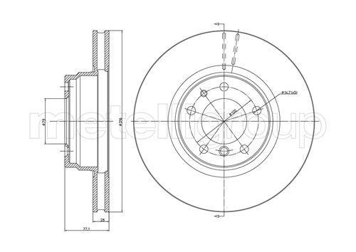 METELLI  23-0399 Bremsscheibe Bremsscheibendicke: 28,0mm, Lochanzahl: 5, Ø: 316,0mm