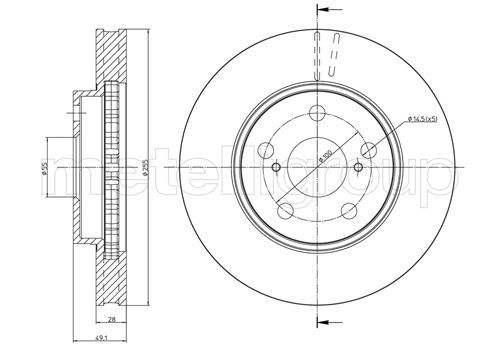 METELLI  23-0447 Bremsscheibe Bremsscheibendicke: 28,0mm, Lochanzahl: 5, Ø: 255,0mm