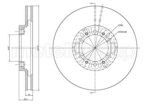 METELLI  23-0463 Brake Disc Brake Disc Thickness: 24,0mm, Num. of holes: 6, Ø: 276,0mm
