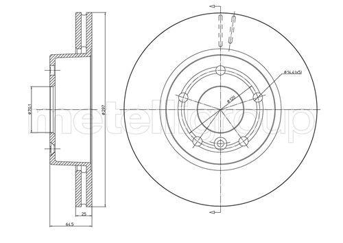 METELLI  23-0543 Bremsscheibe Bremsscheibendicke: 25,0mm, Lochanzahl: 5, Ø: 297,0mm