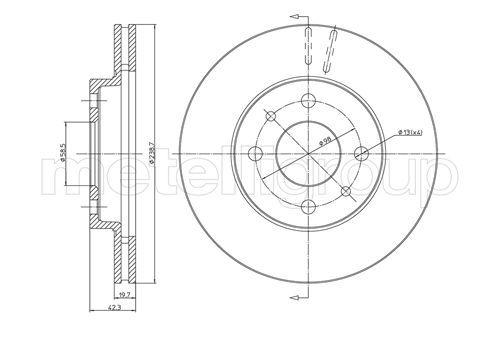 METELLI  23-0553 Bremsscheibe Bremsscheibendicke: 20,0mm, Lochanzahl: 4, Ø: 239,0mm
