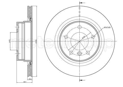 METELLI  23-0818C Bremsscheibe Bremsscheibendicke: 20,0mm, Lochanzahl: 5, Ø: 300,0mm