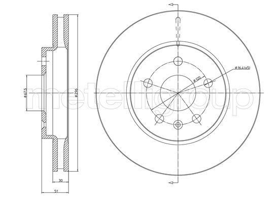 METELLI  23-1006C Bremsscheibe Bremsscheibendicke: 30,0mm, Lochanzahl: 5, Ø: 296,0mm