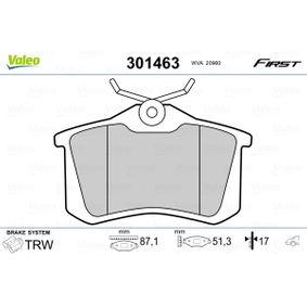 Bremsbelagsatz, Scheibenbremse Breite: 87,2mm, Höhe: 52,9mm, Dicke/Stärke: 17mm mit OEM-Nummer 1J0698451P