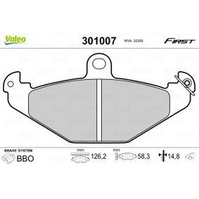 Bremsbelagsatz, Scheibenbremse Breite: 126,2mm, Höhe: 58,3mm, Dicke/Stärke: 14,8mm mit OEM-Nummer 7701 203 124