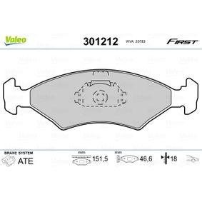 Bremsbelagsatz, Scheibenbremse Breite 1: 151,5mm, Höhe 1: 46,62mm, Dicke/Stärke 1: 18mm mit OEM-Nummer 1010503