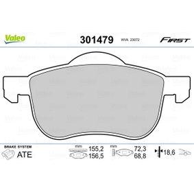 Brake Pad Set, disc brake Width 2 [mm]: 156,5mm, Width: 155,2mm, Height 2: 68,8mm, Height: 72,3mm, Thickness 2: 18,6mm, Thickness: 18,6mm with OEM Number 30 648 385