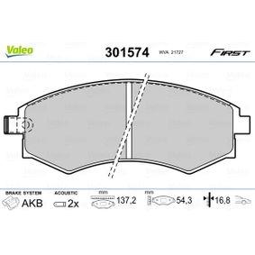 Bremsbelagsatz, Scheibenbremse Breite: 137,2mm, Höhe: 54,3mm, Dicke/Stärke: 16,8mm mit OEM-Nummer 58101 29A20