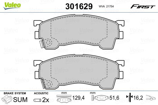 Brake Pads 301629 VALEO 301629 original quality
