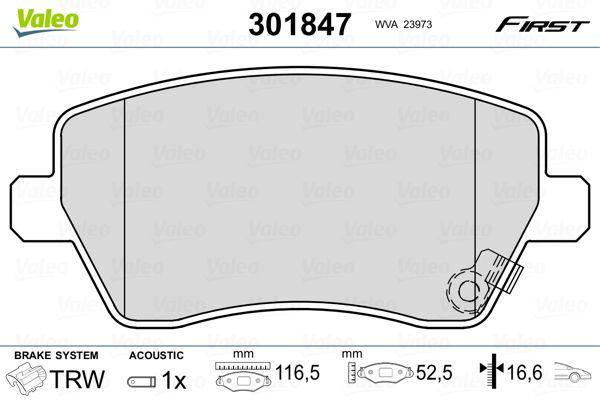 Brake Pads 301847 VALEO 301847 original quality