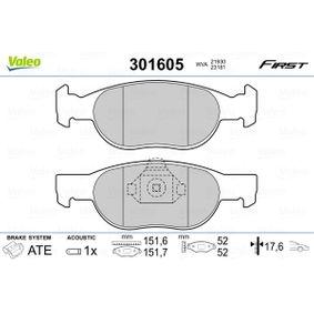 Brake Pad Set, disc brake 301605 PUNTO (188) 1.2 16V 80 MY 2006