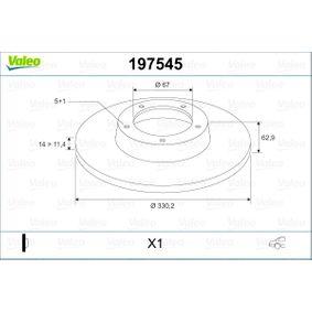 VALEO  197545 Спирачен диск дебелина на спирачния диск: 14мм, джанта: 5-дупки, Ø: 330,2мм