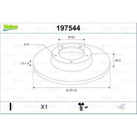 Bremsscheibe Bremsscheibendicke: 10mm, Felge: 5-loch, Ø: 271,8mm mit OEM-Nummer 1K0 615 601 AA