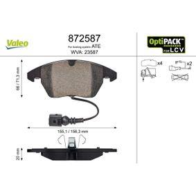 Bremsbelagsatz, Scheibenbremse Breite 1: 156,3mm, Breite 2: 155,2mm, Höhe 1: 70mm, Höhe 2: 66mm, Dicke/Stärke 1: 20mm mit OEM-Nummer 3C0 698 151 A