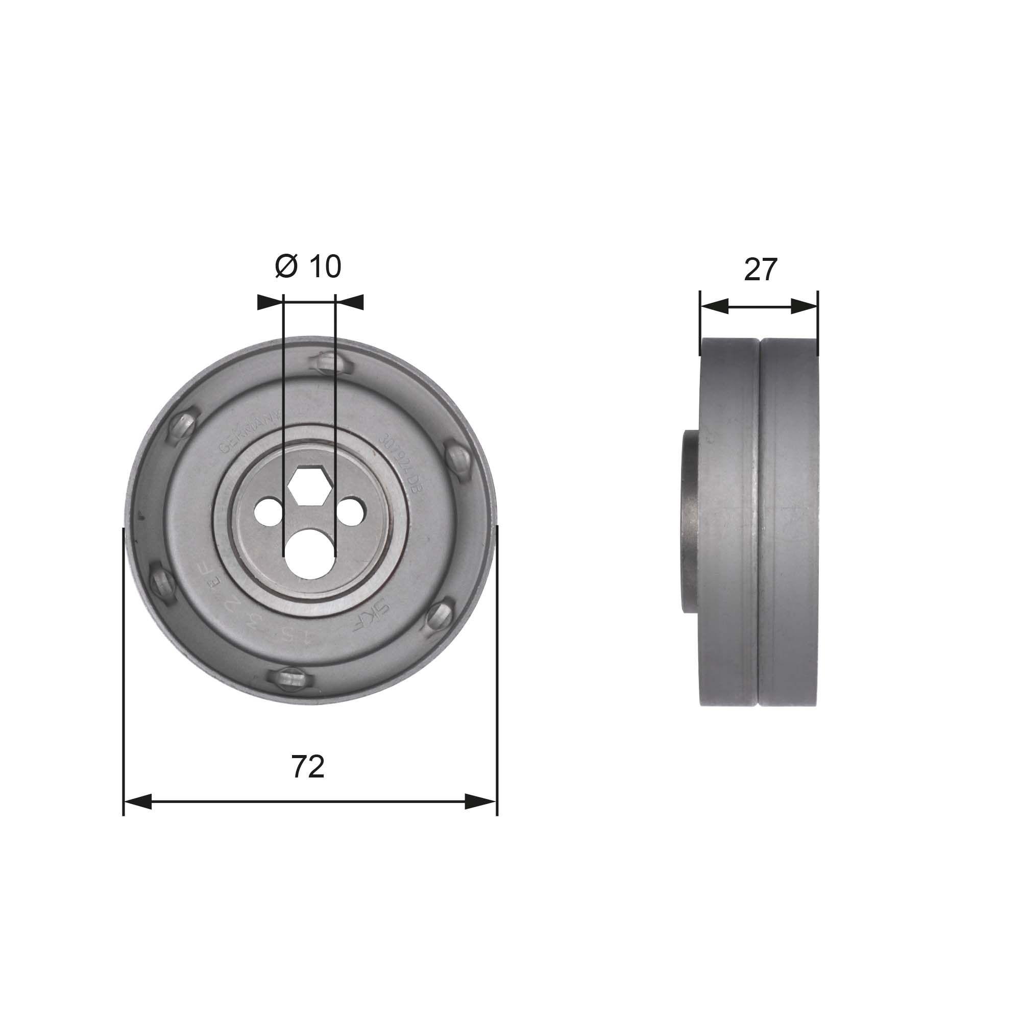 GATES  T41216 Spannrolle, Zahnriemen Ø: 72mm