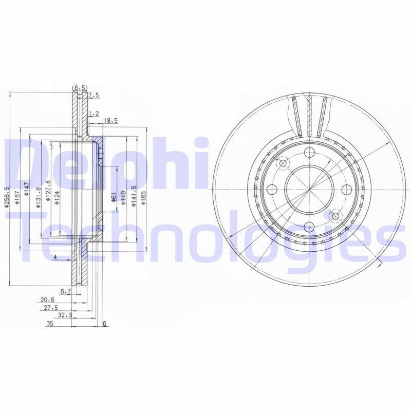 DELPHI  BG2625C Bremsscheibe Bremsscheibendicke: 21mm, Lochanzahl: 4, Ø: 259mm