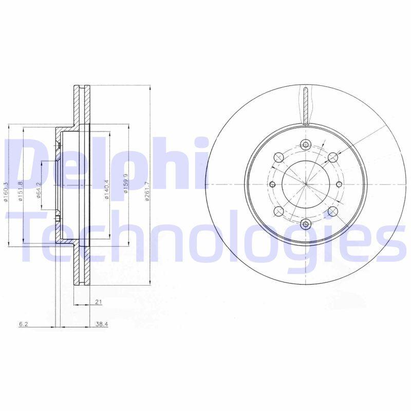 DELPHI  BG2759C Bremsscheibe Bremsscheibendicke: 21mm, Lochanzahl: 4, Ø: 262mm