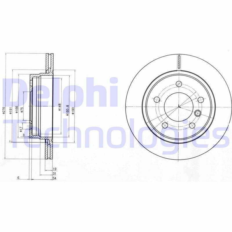 DELPHI  BG3041C Bremsscheibe Bremsscheibendicke: 19mm, Ø: 276mm