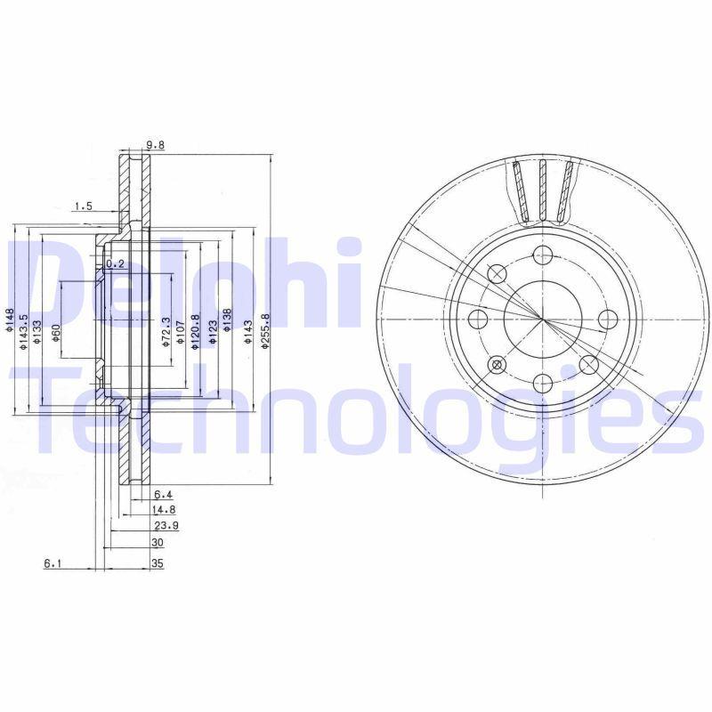 DELPHI  BG3404C Bremsscheibe Bremsscheibendicke: 24mm, Lochanzahl: 4, Ø: 256mm